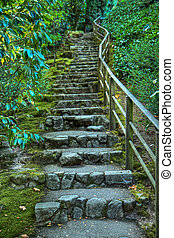 japonés, jardín, piedra, escalera, HDR