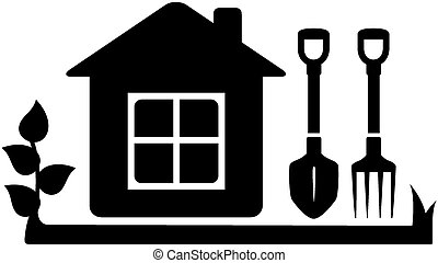 gardening tools icon with house
