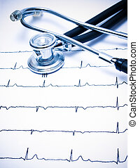 Stethoscope and ECG chart