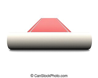 red carpet - 3d rendered illustration of an unrolled red...