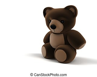 3d teddy - 3d rendered illustration of a little brown teddy...