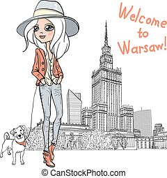 Vector beautiful fashion girl in Warsaw - Fashionable...