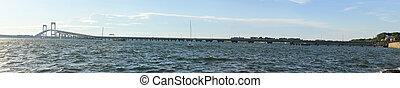 Newport Bridge - Rhode Island - Panoramic view of the...