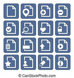 File Management Icons Set. Blue box Design. Vector