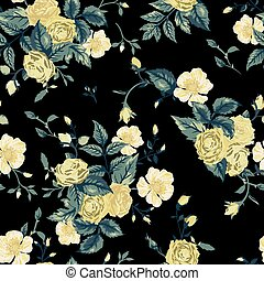 Seamless floral pattern with yellow and white roses on black background
