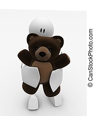 my teddy - 3d rendered illustration of a little character...