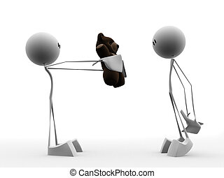 teddy present - 3d rendered illustration of two little guys...