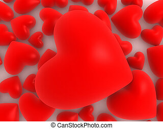 red hearts - 3d rendered illustration of many red hearts