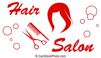 hair salon red symbol - isolated icon with hair salon red...