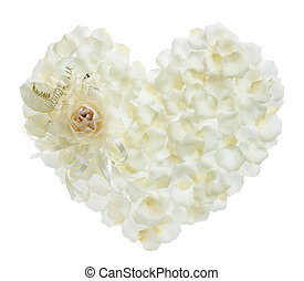 romance - heart shape form by fake white rose and its petals