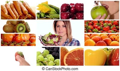 Beauty and healthy food - Collage including diverse fruits...