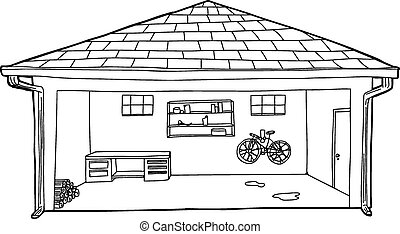 Outlined Garage with Bike and Workbench - Outline cartoon of...