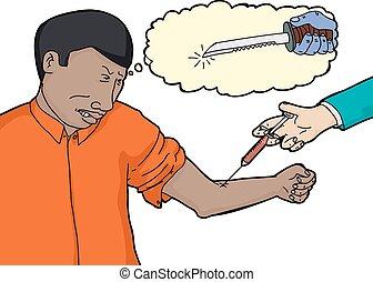 Scared Man Doing Blood Test - Scared man imagining sharp...