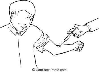 Calm Man Being Immunized - Outilne of single calm man being...