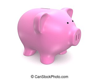 piggy bank - 3d rendered illustration of an isolated pink...