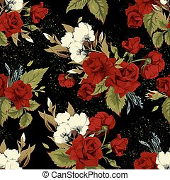 Seamless floral pattern with red roses on black background