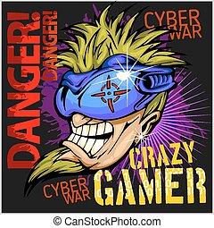 Crazy Gamer -  Emblem for T-Shirt  - Vector Design