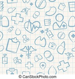 Medical Seamless Pattern on White Squared Paper Sheet