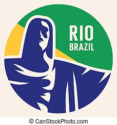 Travel sticker Brazil Vector illustration Luggage sticker