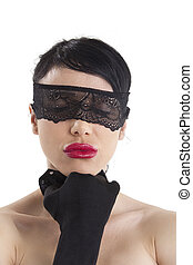 woman with a lace blindfold