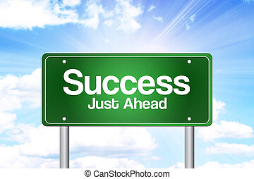 framgång,  just, grön, framåt, väg, underteckna