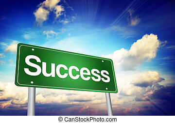 Success Green Road Sign, Business Concept