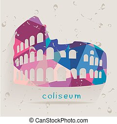 Roman coliseum silhouette made of triangles