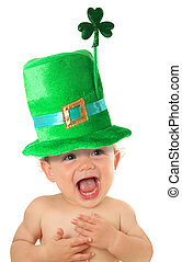 St Patricks day baby - Funny St Patricks day baby wearing a...