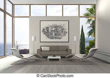 modern living room with a view to the sea - fictitious 3D...