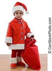 africano, bebé, niña, disfraz, santa, Claus