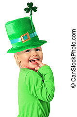 Happy St Patricks day girl - Happy smiling two year old girl...