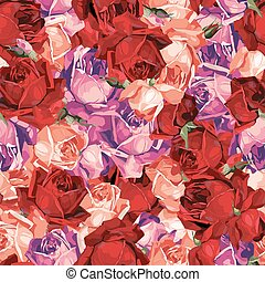Elegant abstract seamless floral pattern with red, magenta and orange roses