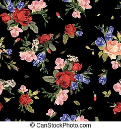 Seamless floral pattern with red roses and pink and blue freesia on black background