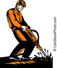 Construction worker with jackhammer - retro woodcut style...
