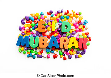 eid mubarak colorful word on the white background