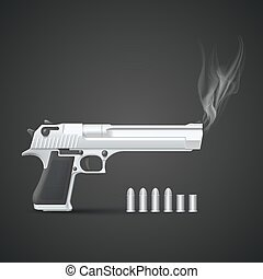Silver gun with smoke art. Vector illustration