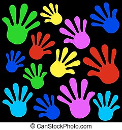 Handprints background icon set color. Vector illustration
