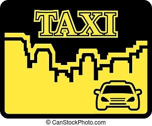 amarillo, taxi, icono, en, plano, diseño, pocilga,