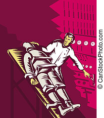 Dr Frankenstein about to turn power plank on - illustration...
