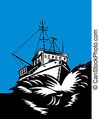Fishing boat battling huge swells - illustration of a...