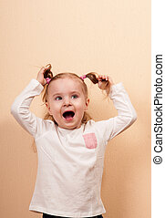 Yelling Girl - Extremely emotional portrait of a yelling...