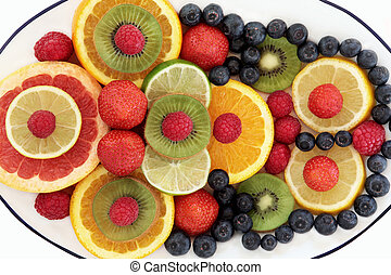 Super Food Fruit - Super food fruit selection in abstract...