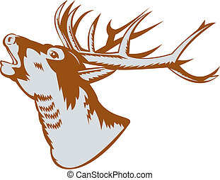 Stag deer head roaring - illustration of a Stag deer head...