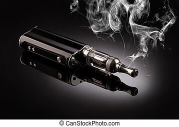 big electronic cigarettes isolated on black