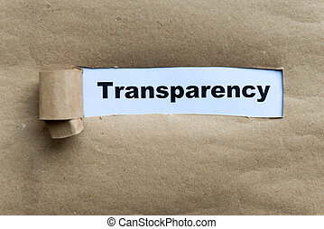 transparency word on the torn paper background