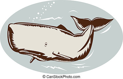 Whale swimming - Illustration of a whale