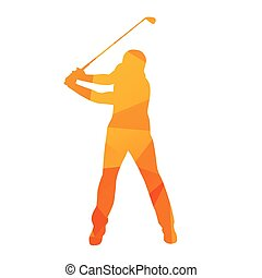 Abstract golfer silhouette