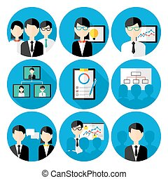 Business men concepts icon set. Flat stylized icons set