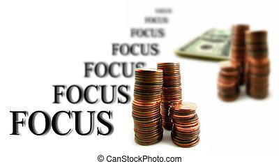 White Background and money Business Focus
