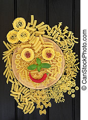 Pasta Sunshine - Pasta selection with abstract smiley face...